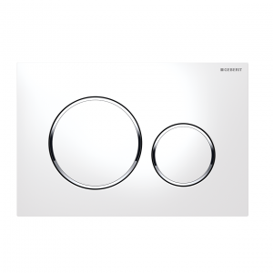 Sigma20 Flush Button- White/Matt Chrome Trim