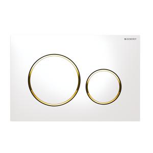 Sigma20 Flush Button- White/Gold Trim