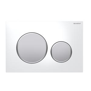 Sigma20 Flush Button- White/Matt Chrome Buttons/Matt Chrome Trim