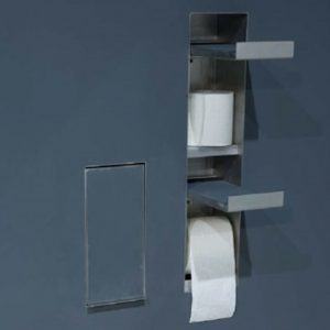 Sesamo Recessed Toilet Roll Holder + Spare
