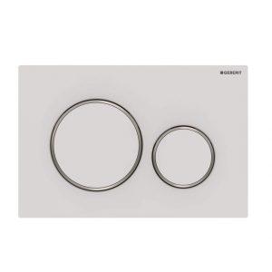 Sigma20 Flush Button- Matt White/Chrome Trim