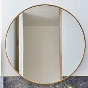 Raw Brass Framed Round Mirror